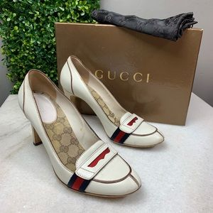 Gucci White Lifford Penny Loafer Pumps